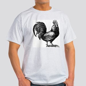 Hand Sketch Rooster Ash Grey T-Shirt