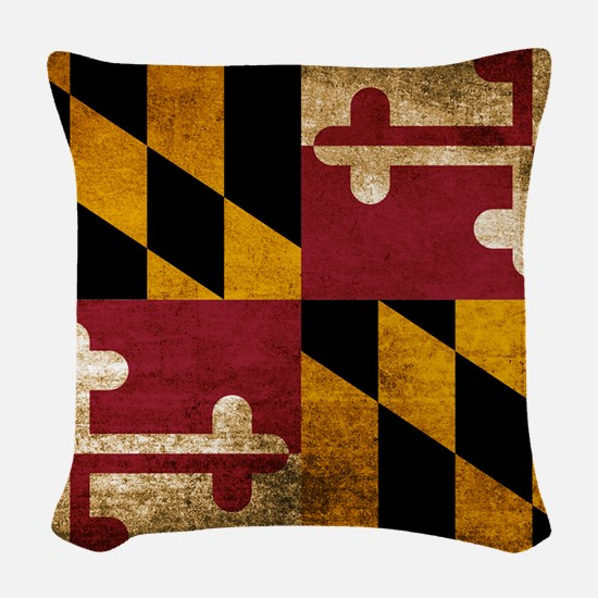 Vintage Flag of Maryland Woven Throw Pillow