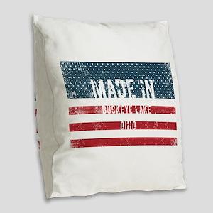 Made in Buckeye Lake, Ohio Burlap Throw Pillow