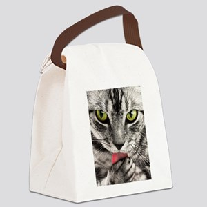 Green Eyed Tabby Canvas Lunch Bag
