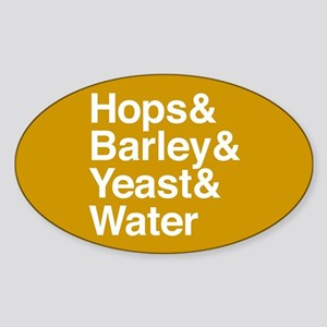Hops Barley Yeast Water Sticker (Oval)