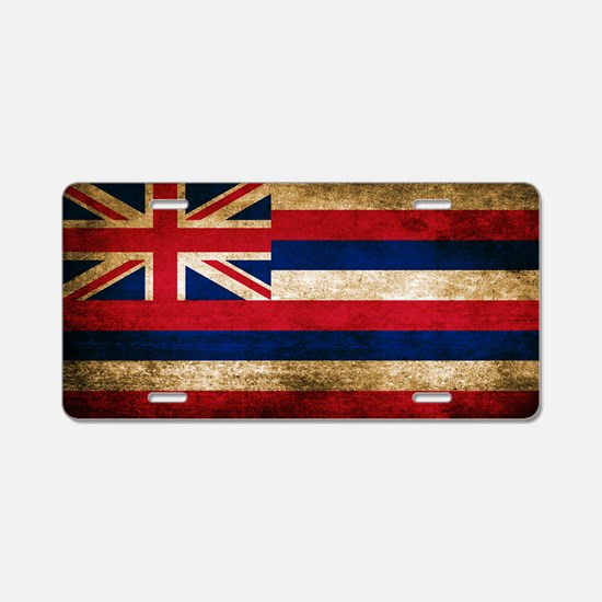 Vintage Flag of Hawaii Aluminum License Plate