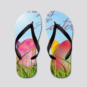 Happy Easter Decorated Eggs Flip Flops