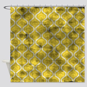 Grungy Yellow Retro Waves Shower Curtain