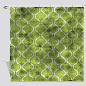 Grungy Green Retro Waves Shower Curtain