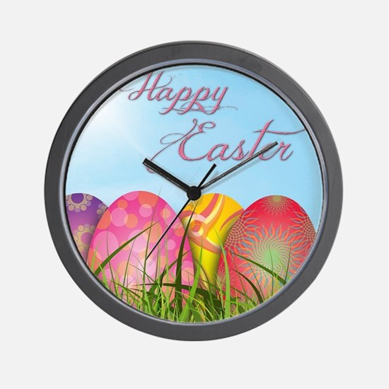 Happy Easter Decorated Eggs Wall Clock