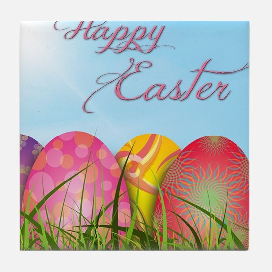Happy Easter Decorated Eggs Tile Coaster