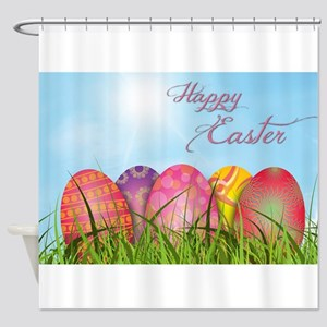 Happy Easter Decorated Eggs Shower Curtain