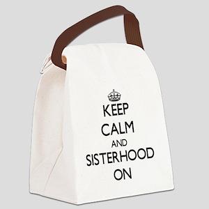 Keep Calm and Sisterhood ON Canvas Lunch Bag