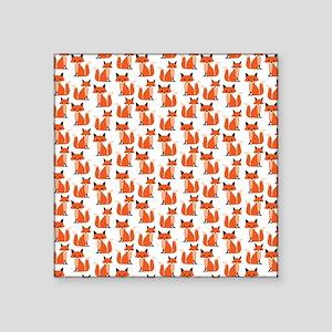 "Hipster foxes cute fox patt Square Sticker 3"" x 3"""