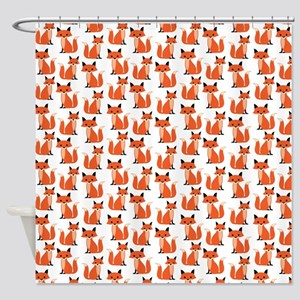Hipster Foxes Cute Fox Pattern Wood Shower Curtain