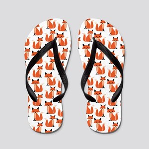 Hipster foxes cute fox pattern woodland Flip Flops