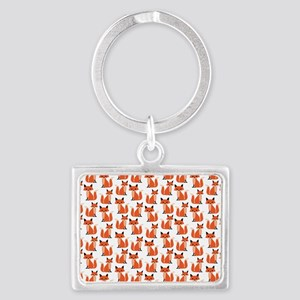 Hipster foxes cute fox pattern  Landscape Keychain