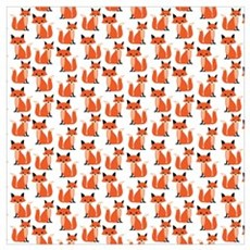 Hipster foxes cute fox pattern woodland critter Poster