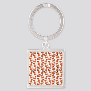 Hipster foxes cute fox pattern woo Square Keychain