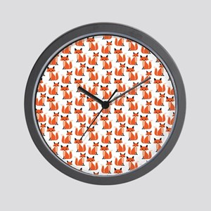 Hipster foxes cute fox pattern woodland Wall Clock