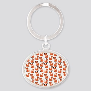 Hipster foxes cute fox pattern woodl Oval Keychain