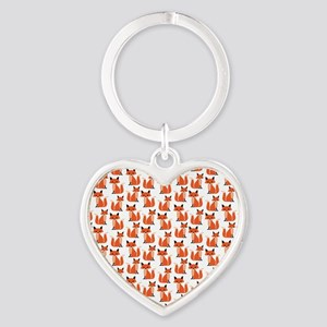 Hipster foxes cute fox pattern wood Heart Keychain