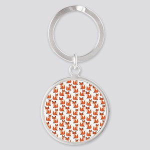 Hipster foxes cute fox pattern wood Round Keychain