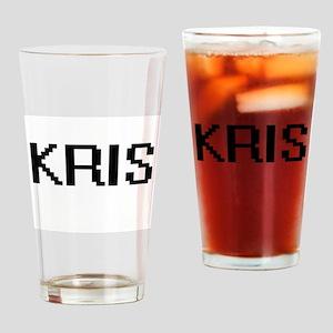 Kris Digital Name Design Drinking Glass