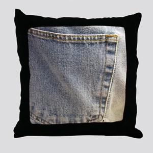 Denim Pocket Throw Pillow