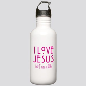 Pink Love Jesus Cuss Stainless Water Bottle 1.0L