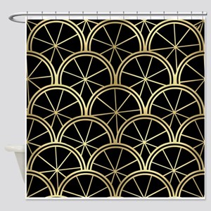 Black and White Star Pattern Shower Curtain