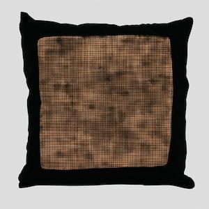 Grungy Brown Crosshatch Throw Pillow