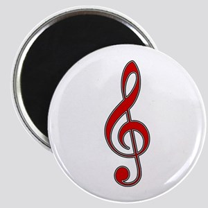 Retro Red Treble Clef Magnet