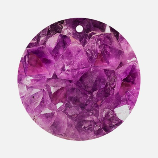 Amethyst geode crystal druse druzy  Round Ornament