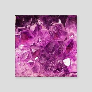 "Amethyst geode crystal drus Square Sticker 3"" x 3"""