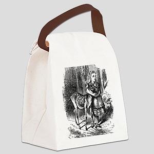 vintage alice in wonderland deer  Canvas Lunch Bag