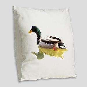 Self Reflection Mallard Burlap Throw Pillow