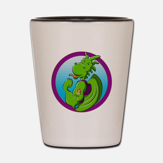 Dragon with the hula dancer tattoo Shot Glass