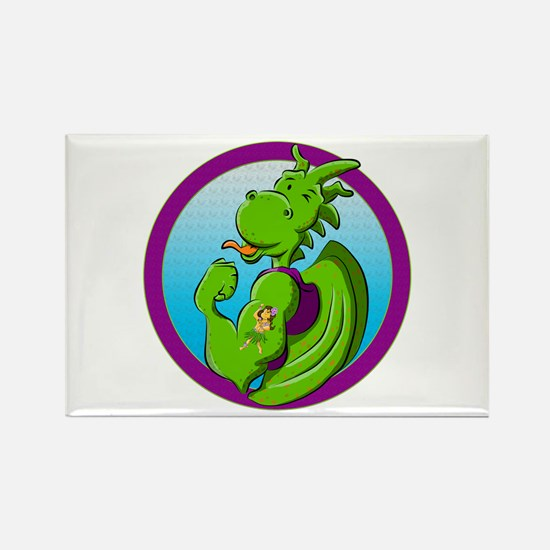Dragon with the hula dancer tattoo Magnets