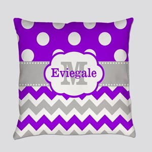 Purple Gray Dots Chevron Monogram Everyday Pillow