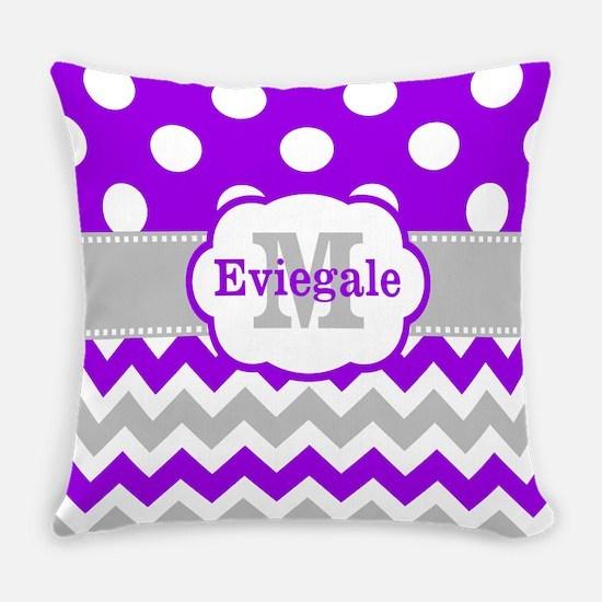 Purple Gray Dots Chevron Monogram Everyday Pillow