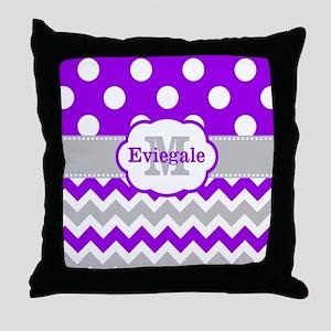 Purple Gray Dots Chevron Monogram Throw Pillow