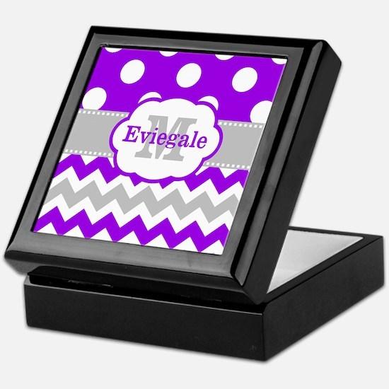 Purple Gray Dots Chevron Monogram Keepsake Box