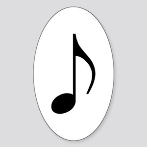 Traditional Basic Black Note Oval Sticker