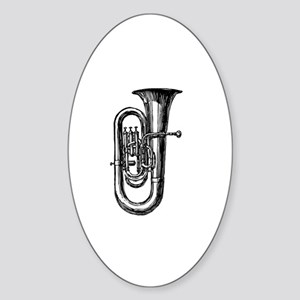 Woodcut Tuba Oval Sticker