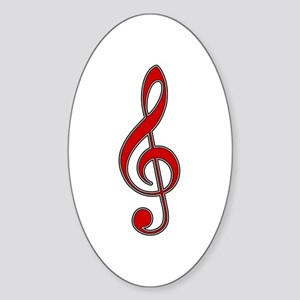 Red Treble Clef Oval Sticker