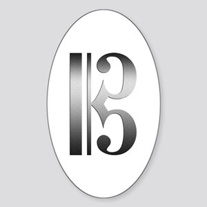 """Silver"" C Clef Oval Sticker"