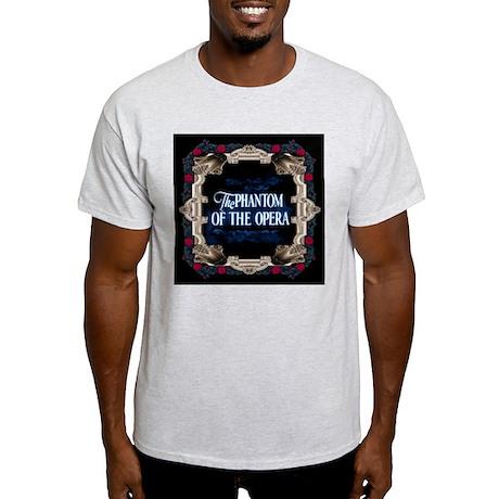 Phantom of the Opera Lettering with Red Rose Frame Light T-Shirt ...