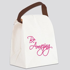 Be Amazing - Pink Canvas Lunch Bag