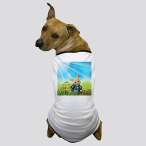 Spring Bunny in Blue Sweater Dog T-Shirt