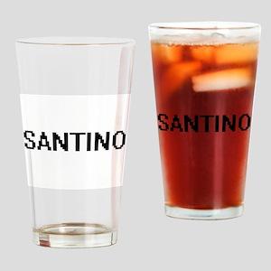 Santino Digital Name Design Drinking Glass