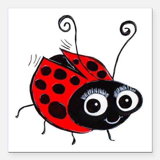 "Ladybug 1 Square Car Magnet 3"" x 3"""