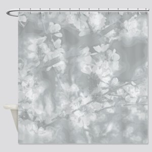 Spring Blossoms In Glacier Gray Shower Curtain