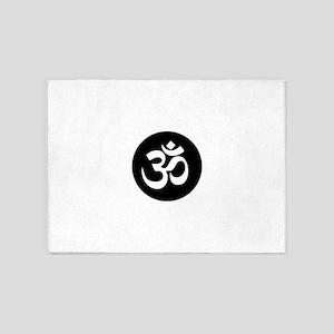 Om Symbol Circle 5'x7'Area Rug